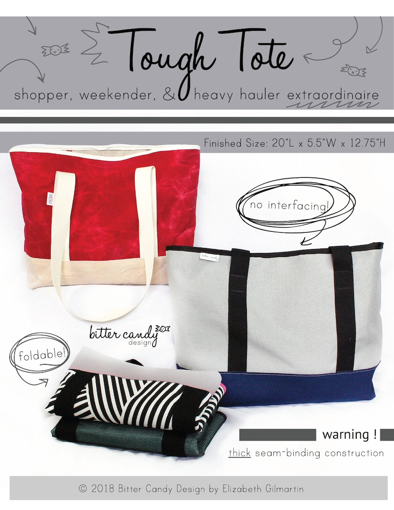 Tough Tote PDF Sewing Pattern Instant Download image 0