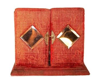 8fb53cde65de54 SALE Antique Photo Album Victorian Photograph Album Unique Cabinet Card  Album with Beveled Mirrors Red Velvet Album with Secret Drawer