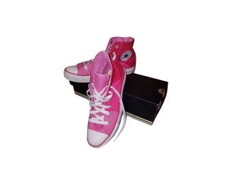 01064cff9fe8 SALE Vintage Converse All Star Chuck Taylor Rare Tricolor Pink Red Hot Pink Hi  Tops High Tops New in Box Womens 8 Mens 6