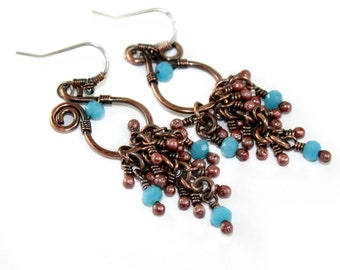Bright Blue Turquoise Copper Chandelier Earrings, Wire Wrapped, Antique Copper, Summer Jewelry, Rustic Metal, Canada