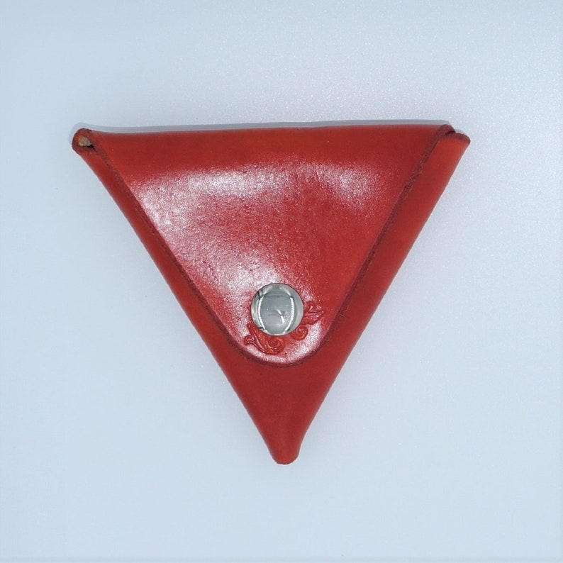 Leather Hand dyed Coin Purse Triangle Shape Leather Tooling Hand Embossed