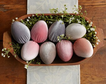 Velvet Eggs set of 8 Pretty Pastel, spring decorations, newborn photo prop, vase filler, Spring decor, gift for her, best selling item