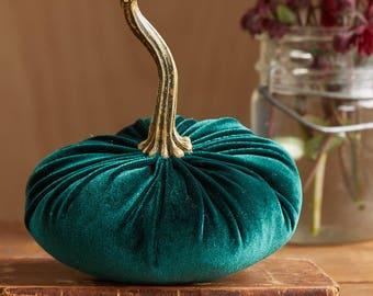Small Velvet Pumpkin Emerald, Fall wedding decor, modern rustic centerpiece, mantle decor, Thanksgiving centerpiece, best selling item