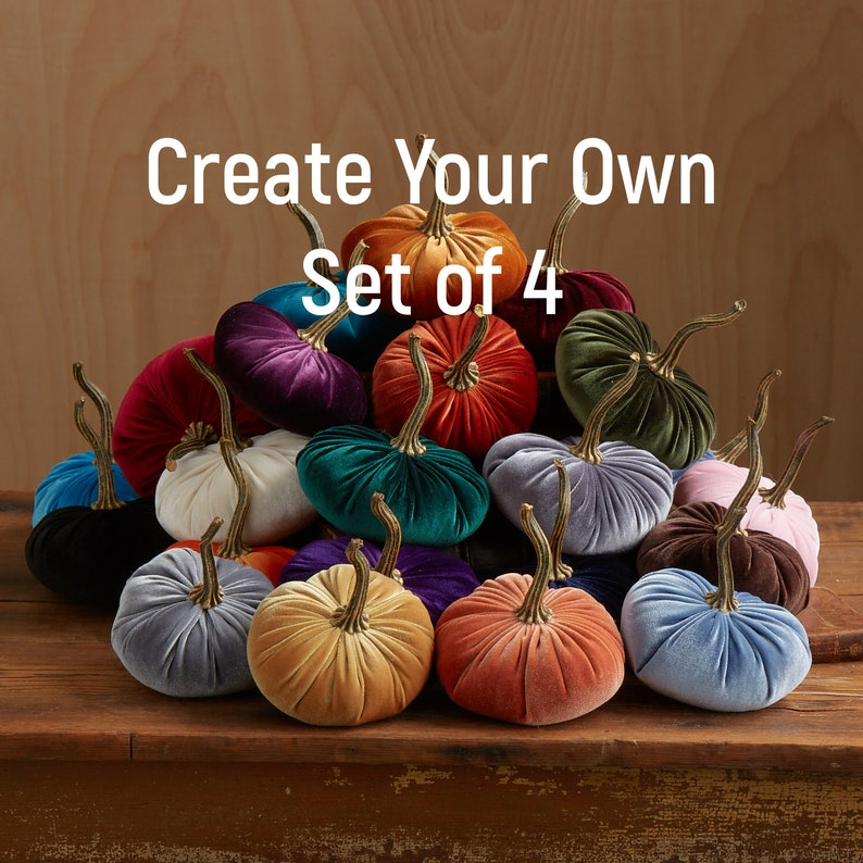 Velvet Pumpkins Create Your Own Set of 4 Fall decoration image 0