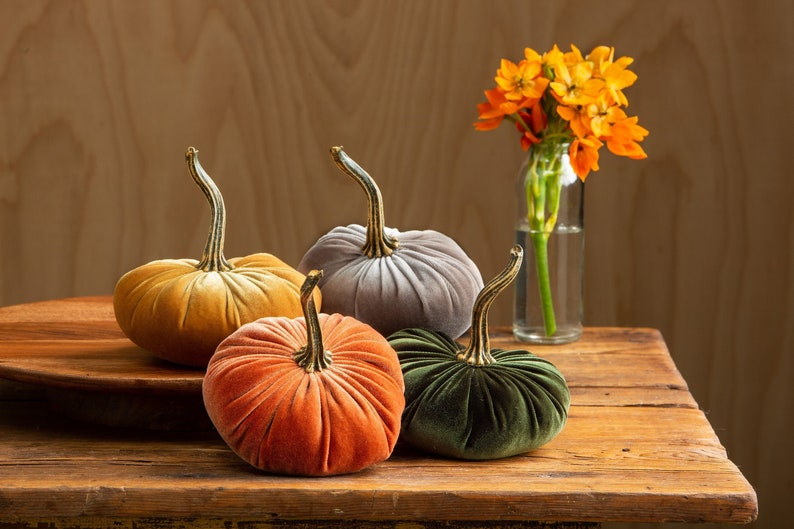 Small Velvet Pumpkins Set of 4 Fall wedding centerpiece image 0