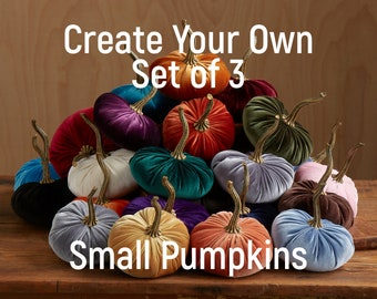 Small Velvet Pumpkins Create Your Own Set of 3, Fall decoration, table centerpiece, rustic wedding, trending home decor, best selling items