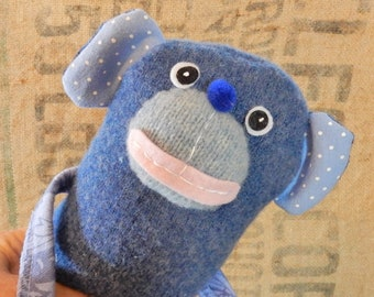 5 Blue MONKEY Deluxe Knitagains: Silly plush stuffed animals made w recycled sweaters & love. Up -cycled toy for boys