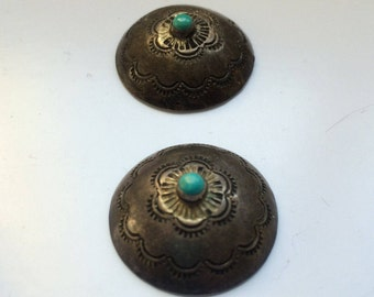 Vintage Handmade Turquoise & Sterling Silver Buttons-Native American / Southwestern style. Authentic USA made. Use As is or Re Purpouse