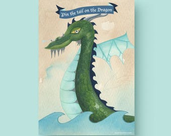 LARGE SIZE- 24 x 36- inches Printable Pin the Tail on the Dragon - Printable Pin the Tail on the Dragon party game (comes with 18 tails)