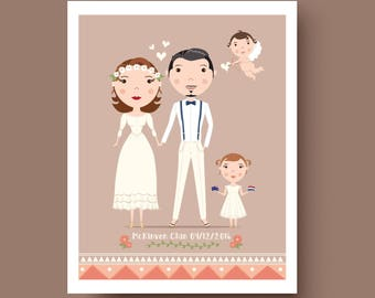 Personalised  Custom illustrated Wedding Bridal Party Portrait - 14 x 11 inches