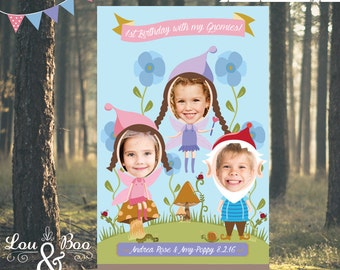 Large Format Custom Woodland Fairy and Gnomes Photo Booth Party Poster