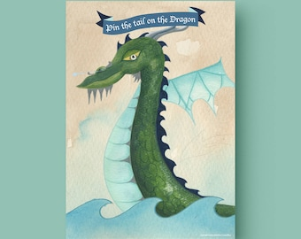 Printable Pin the Tail on the Dragon -  A3 size Printable Pin the Tail on the Dragon party game (comes with 18 tails)