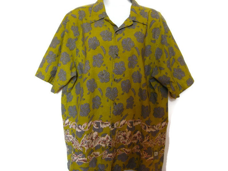0ac1219e84a Vintage 90s floral short sleeve shirt mustard yellow grey