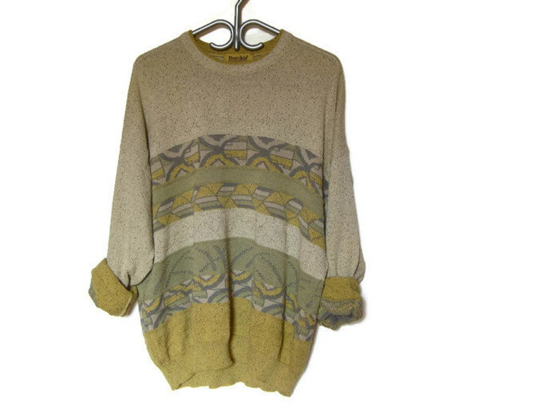 10a27d136 Mens Vintage oatmeal geometric crew neck 90s 1990s pullover