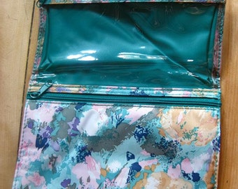 Vintage travel makeup bag / cosmetic case / organizer / travel wallet / pencil pouch / colorful floral/ gifts for her