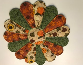 "Handmade Dresden Plate  Table Centerpiece. 11.5"" Round.  Orange, Green, Tan with Flowers"