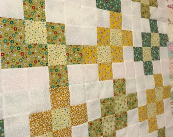 """Unfinished Patchwork Cotton Quilt Top. Very Colorful Squares with White Dot Fabric.  52"""" X 41 W."""