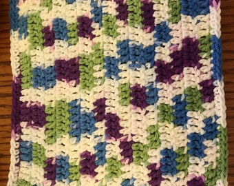 """Handmade Crochet Cotton 2 Variegated Dish Clothes 8"""" Square"""