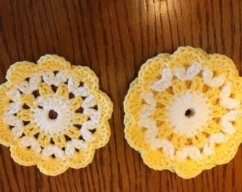 "Handmade Crochet Cotton 4 Table Coasters, Yellow,  White  4@5"""
