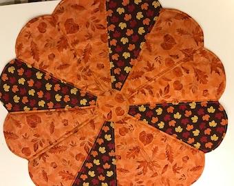 "Handmade Dresden Plate  Table Centerpiece.  24"" Round. Orange Leaves"