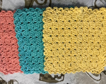 "3  Hand Made Crochet Dish Cloths, 100% Cotton Yarn.  7"" Square"