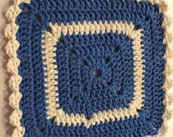 "Handmade Crochet Cotton 2 Blue/White Dish Clothes 8"" Square"