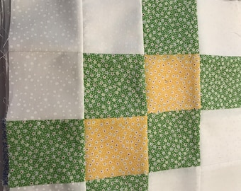 """16 Quilt Squares, 10.5"""" each.  Made of 3"""" Squares, Green, Blue, Pink, Lavender, Yellow."""