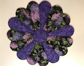 """Handmade Dresden Plate  Table Centerpiece.  24"""" Round.  Leaves, Purple, Lilac, Flowers on Black"""