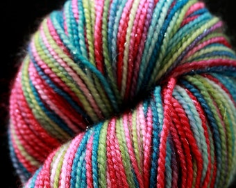 DESTASH never enough thyme hand dyed hand painted holly jolly merino nylon stellina