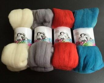 Pack Mates - Rockabilly polwarth feltable natural silver gray grey red blue orange teal spinning fiber