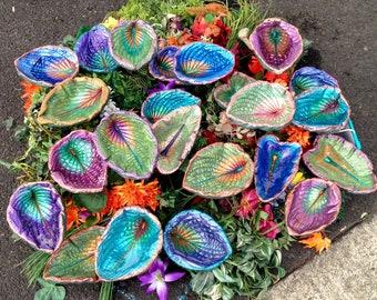 TEN leaves - Bird Baths, Feeders & Cement garden sculpture (Mixed Metallics - CUSTOM COLORS) stand over flowers in garden and pots