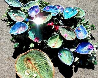 "Bird feeder / Bird bath Sets - 12 leaf CUSTOM COLOR SET - each leaf about 5x8"" large, choose metallic or natural (or mixed) colors."