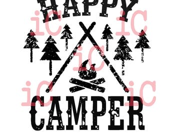 SVG and DXF Happy Camper