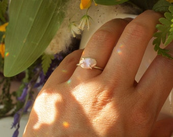 Keshi Pearl Ring, size 6.5, prong setting pearl, fresh water pearl, no nucleus pearl, one of a kind pearl, sterling silver