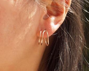 Huggie Hoops Three Piercing illusion hoops Earrings, Rose Gold Filled huge hoops earrings, trompe l'ceil stud hoops earrings