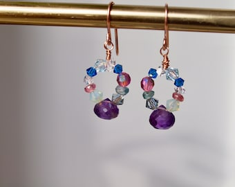 Amethyst teardrop swarovski combo, tiny dangle earrings, wire wrap dangle, gold filled