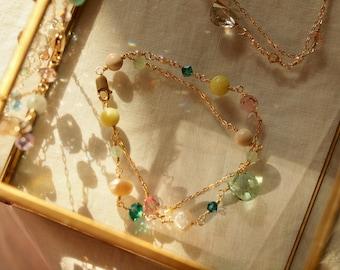 Gold Double Bracelet, Stacking Bracelet, Pastel Bracelet, double chain charm, combination lemon Jasper and transparent green, gold filled