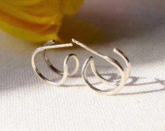 Two Piercing Illusion huggies earrings, Trompe l'Oeil hoops Stud Earrings, sterling silver