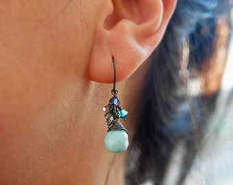 Blue Larimar Earrings with oxidised silver dangle combo with swarovski crystals