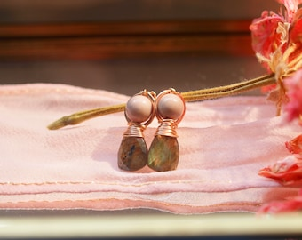 Labradorite and Jasper stud earrings, wirewrapped with rose gold filled