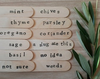 set of 12 hand printed plant labels