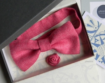 c81d645b5fbaf Bow tie and lapel pin. Fuchsia pink. Linen anniversary. 4th wedding  anniversary gift. Wedding set for groom. Made in Italy