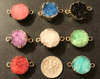 10% Off Sale.. 1 5 10 pc, Druzy Link,. Pendant Charm Connector, 16-18 mm, pick color, Drussy Druzzy, Gold Electroplated, ap31.8 dr wf