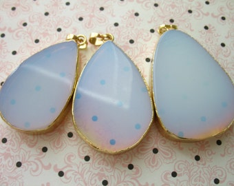 pick gem 40-60 x 25-35 mm OPALITE  Pendant Charm Teardrop Drop Slice Slab Clearance. Gold Electroplated ap41.2 1.5-2.5 inches
