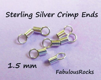 10 pcs Sterling Silver Crimp Beads from 1,5mm to 9mm solder CHOOSE YOUR SIZE Silver Crimp End Caps Jewelry Making Supplies Sterling Silver