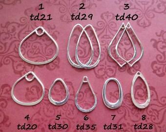 5 pcs Copper Earring Components teardrop Pendants  Silver Plated 40mm