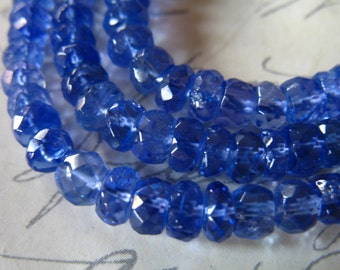 Periwinkle Blue 3-4 mm  Luxe AAA TANZANITE Rondelles Beads Faceted  10-100 pcs december birthstone brides bridal wedding..34