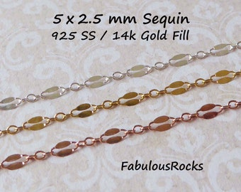 6.5x2.7 mm Sterling Silver Dapped Long and Short Chain Double Bar SEQUIN Chain 14k Gold Filled or 925 SS Necklace Chain q mmss solo c m46