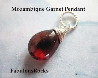 55Carat Natural Garnet Silver Charms for Women January Birthstone Pendant Chakra Healing Pear Necklace Handmade