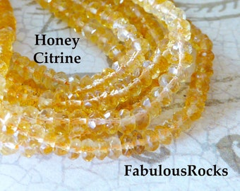 Sparkling Golden Orange Citrine Micro Faceted Rondelles 14 Inch Strand Citrine AAA Citrine Necklace 52 Pieces 11mm 13mm